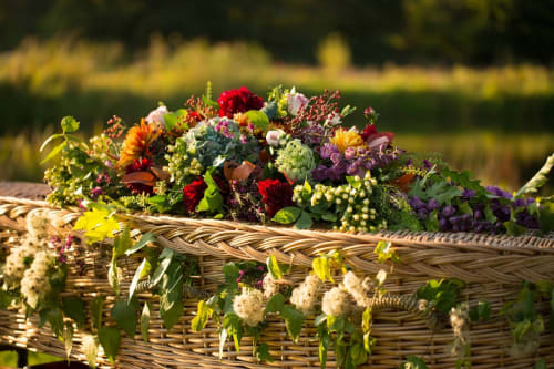 A wicker coffin with coffin spray created by Dandelion Farewells