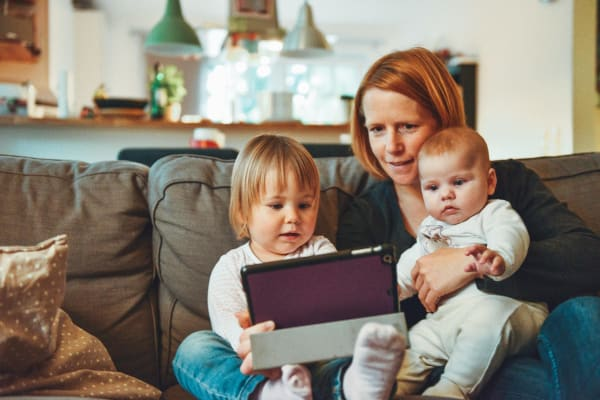 A mum makes her will online with her two children