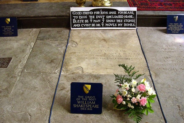 William Shakespeare grave with curse
