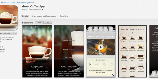 """""""Great Coffee App"""" für Ihr Smartphone"""