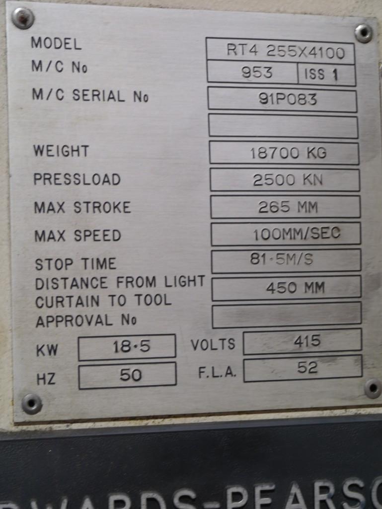 EDWARDS PEARSON RT4 255 X 4100 250 Ton x 4000mm 6 axis CNC Press
