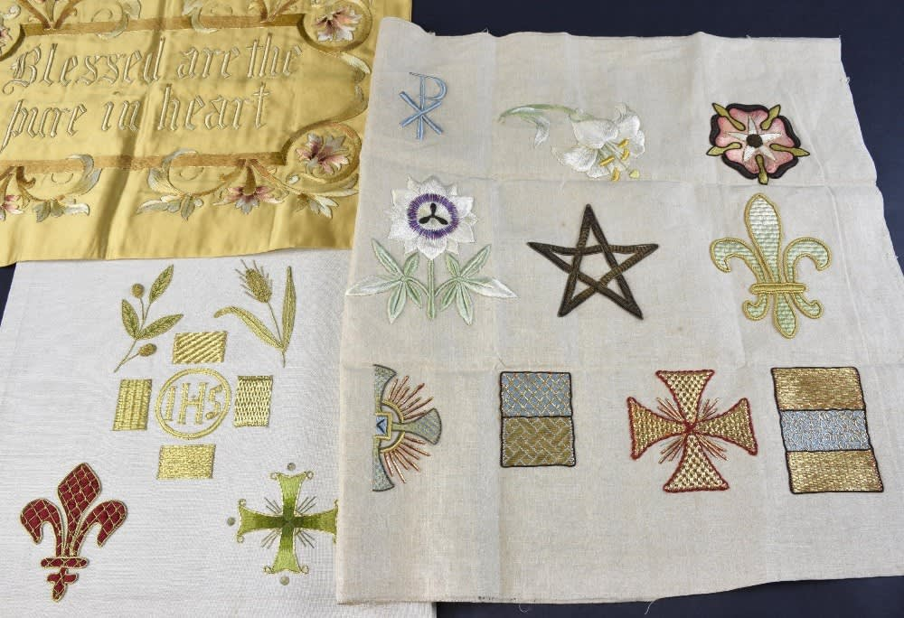 Three Panels Of Ecclesiastical Embroidery Blessed Are The Pure In
