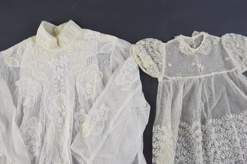 Late victorian blouse in net with lace appliqué a coggershall