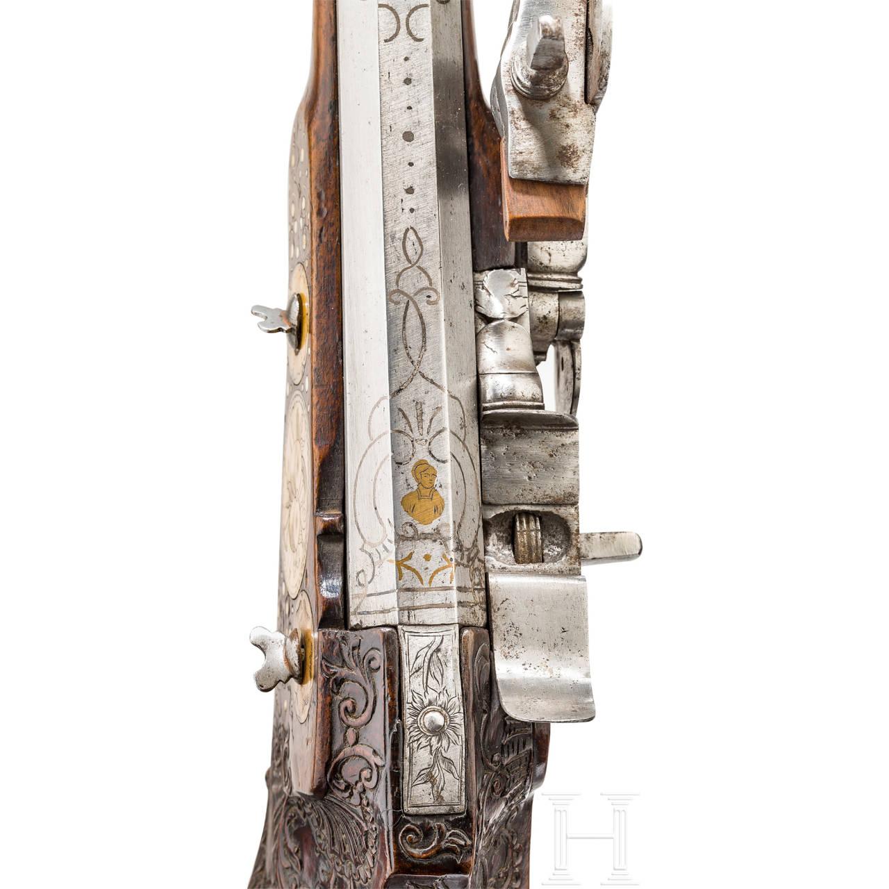Reich verbeinte Luxus-Radschlossbüchse, Böhmen, um 1680/1700