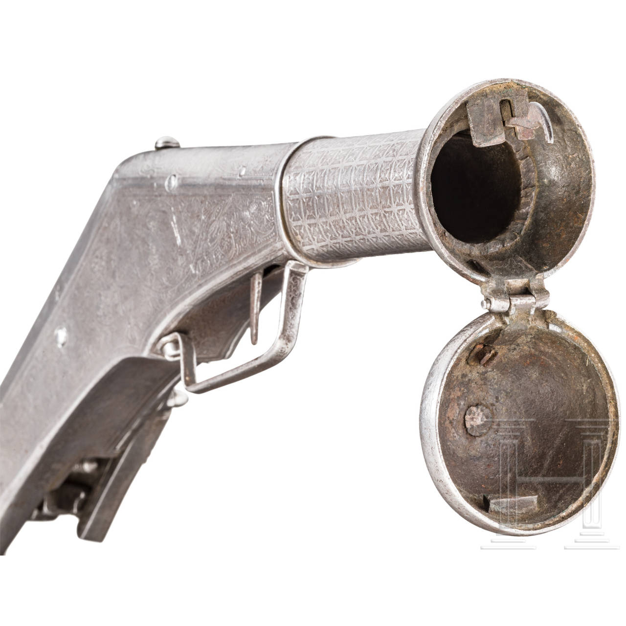 Bedeutende geätzte Ganzmetall-Radschlosspistole, Nürnberg, um 1570/80