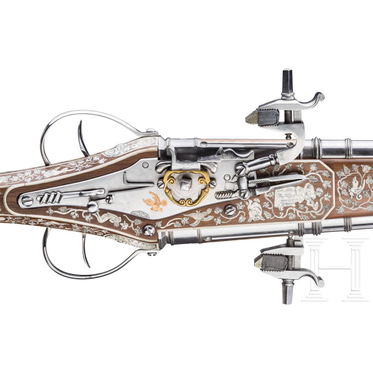 Doppelläufige, lange Radschloss-Wendepistole, Sammleranfertigung im Stil um 1600