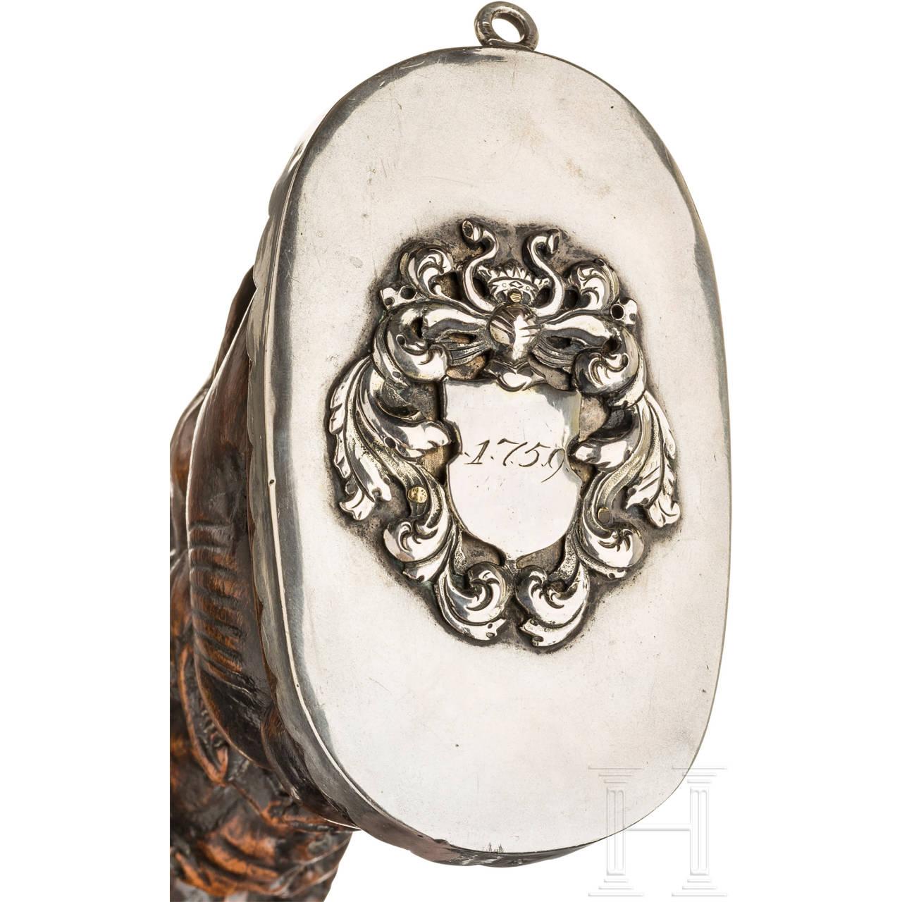 Silbermontierte Luxus-Pulverflasche, deutsch, datiert 1759
