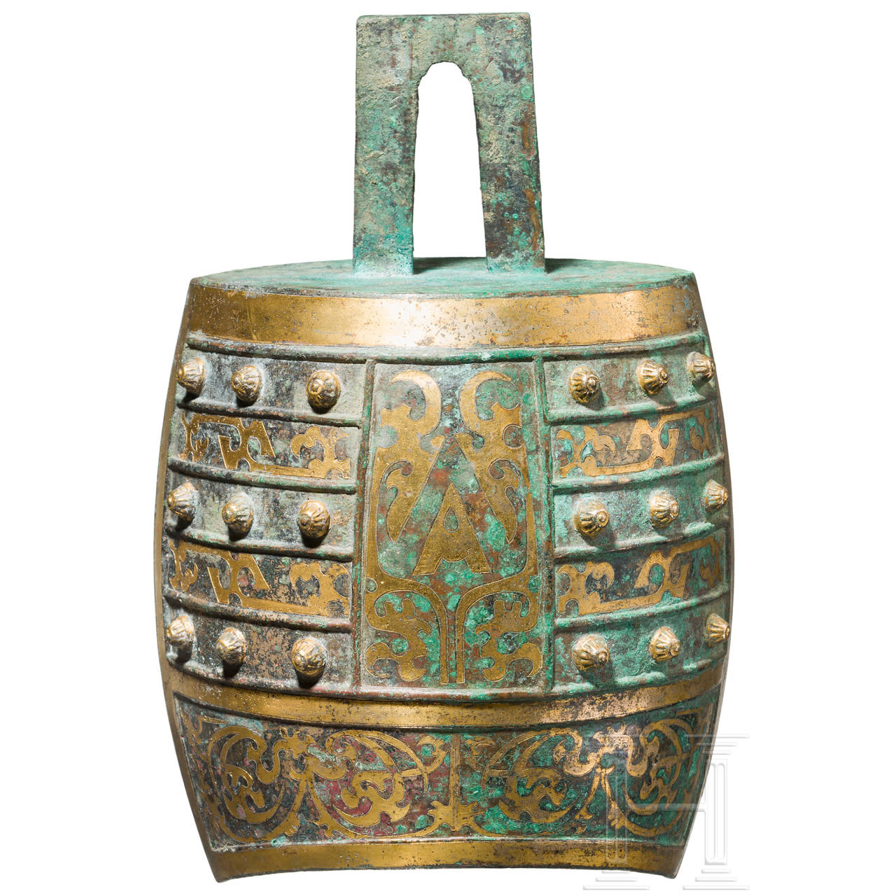Bronzeglocke (Zhong) mit ornamentaler Vergoldung, China, Qin-Dynastie, 3. Jhdt. v. Chr.