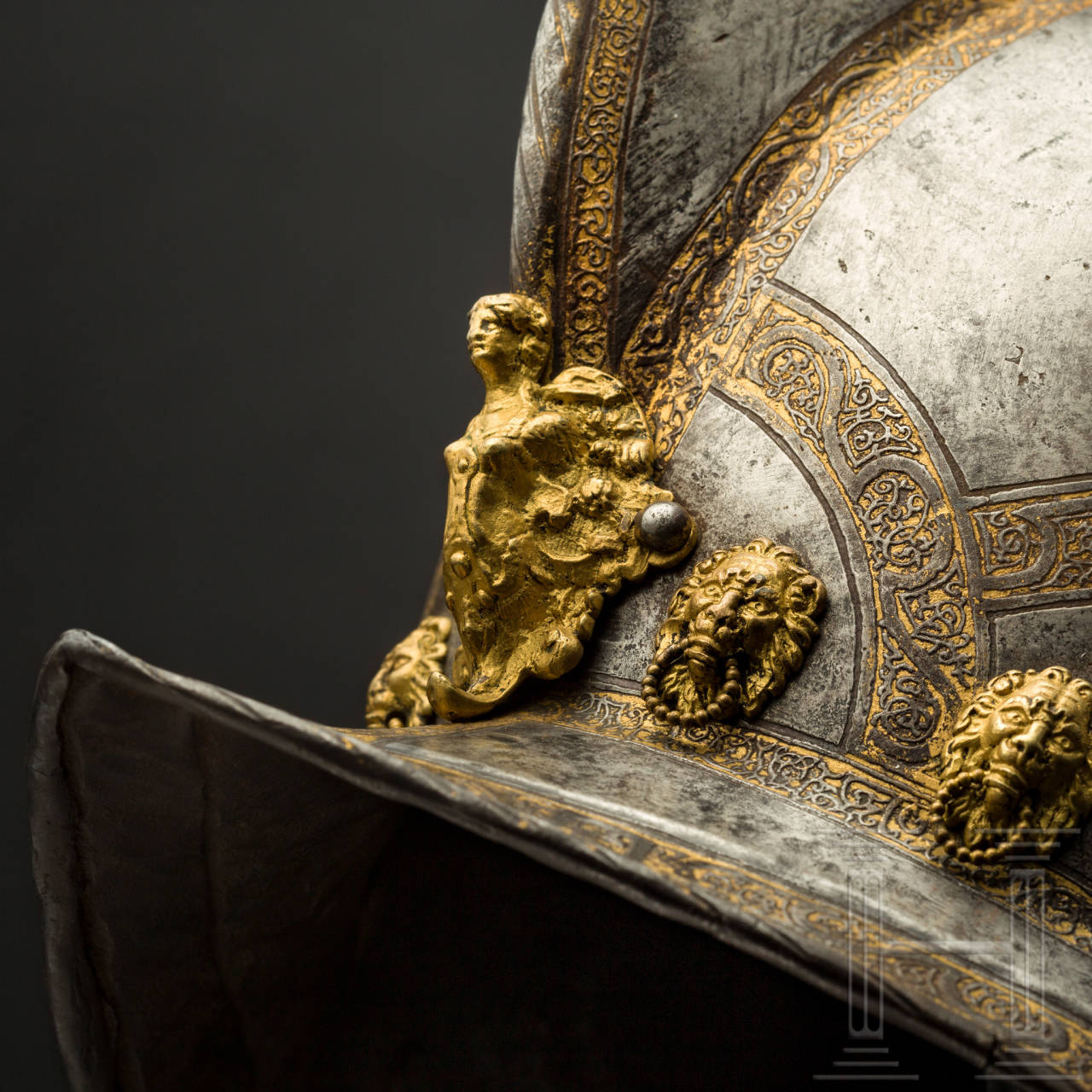 Geätzter und vergoldeter Morion der sächsischen Trabantengarde, Nürnberg, Ende 16. Jhdt.