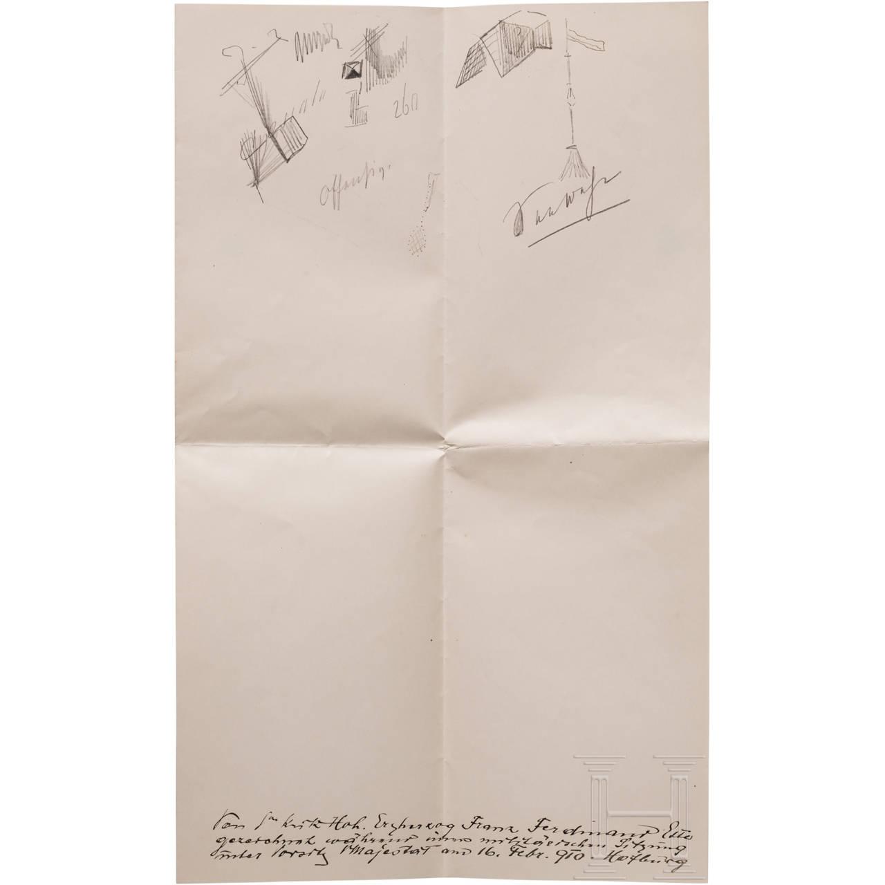 Erzherzog Franz Feridnand von Österreich-Este - eigenhändige Bleistiftskizzen während einer Militärsitzung am 16.2.1910