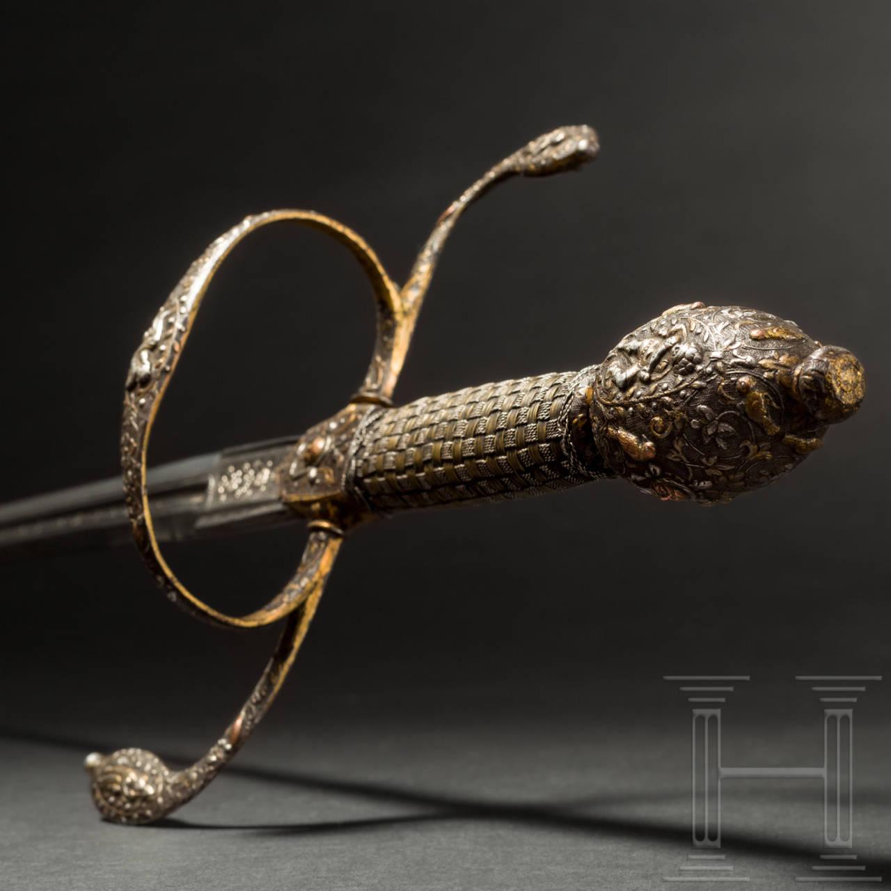 Bedeutendes Luxus-Rapier, deutsch, um 1620