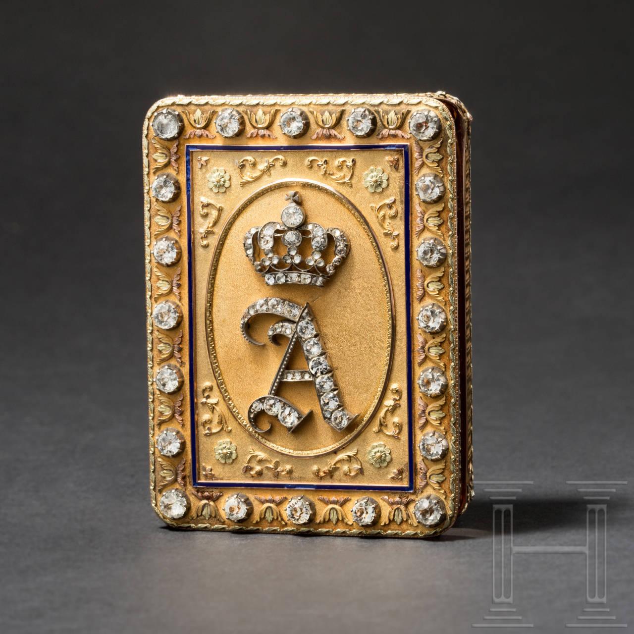 Großherzog August I. von Oldenburg (1783 - 1853) - prunkvolle, goldene Geschenkdose, Charles Collins & Söhne, Hanau, um 1830/40