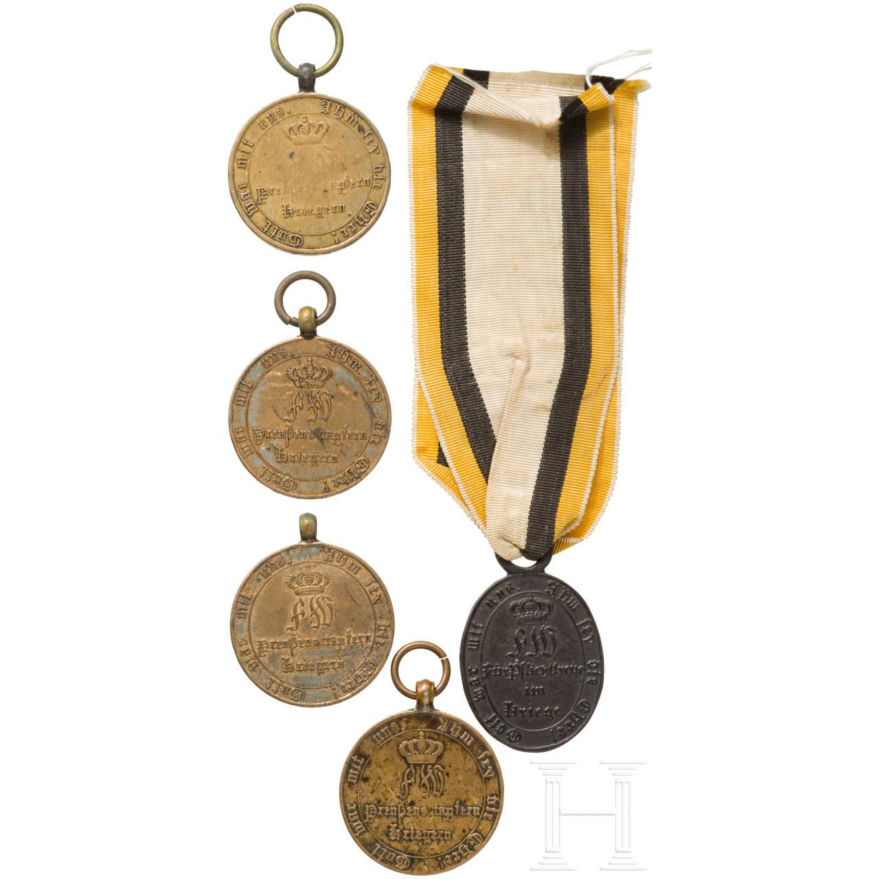 Fünf Kriegsdenkmünzen zu den Befreiungskriegen 1813-15, Preußen