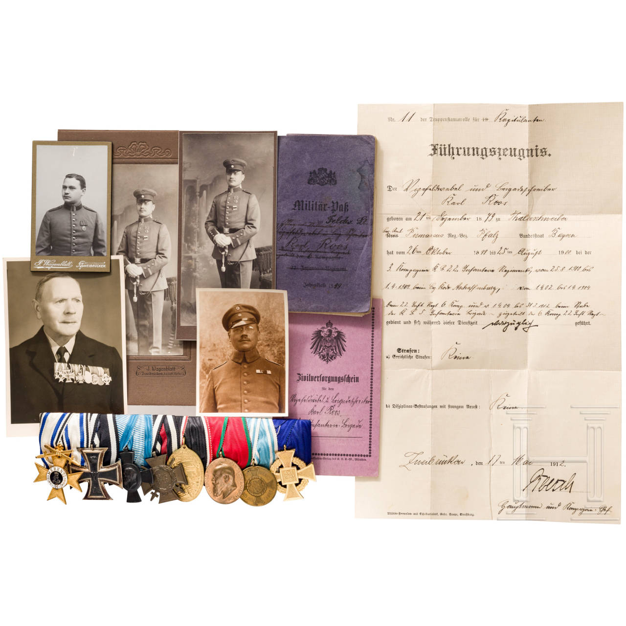 Achtteilige Ordensschnalle eines Feldwebel-Leutnants im Armierungs-Bataillon 15, Bayern