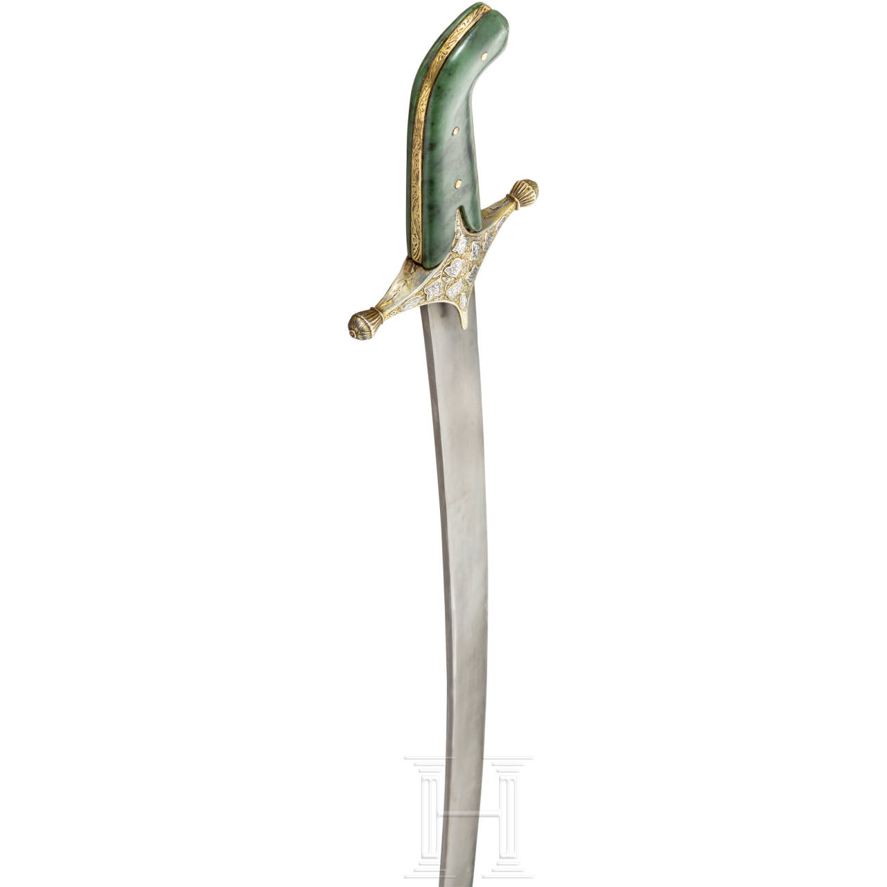 An Ottoman silver-mounted and nielloed, gold-inlaid kilij with a nephrite grip, 2nd half of the 17th century