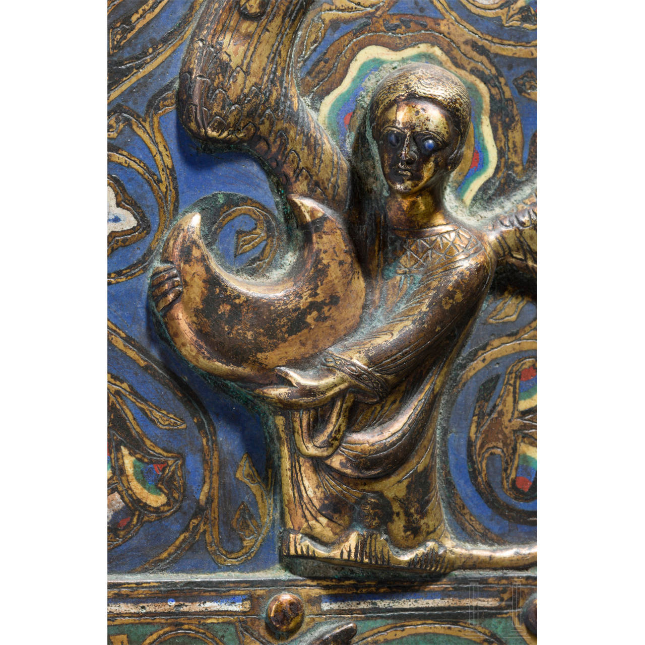 A large champlevé picture panel in the style of the 12th/13th century, Limoges, mid 19th century