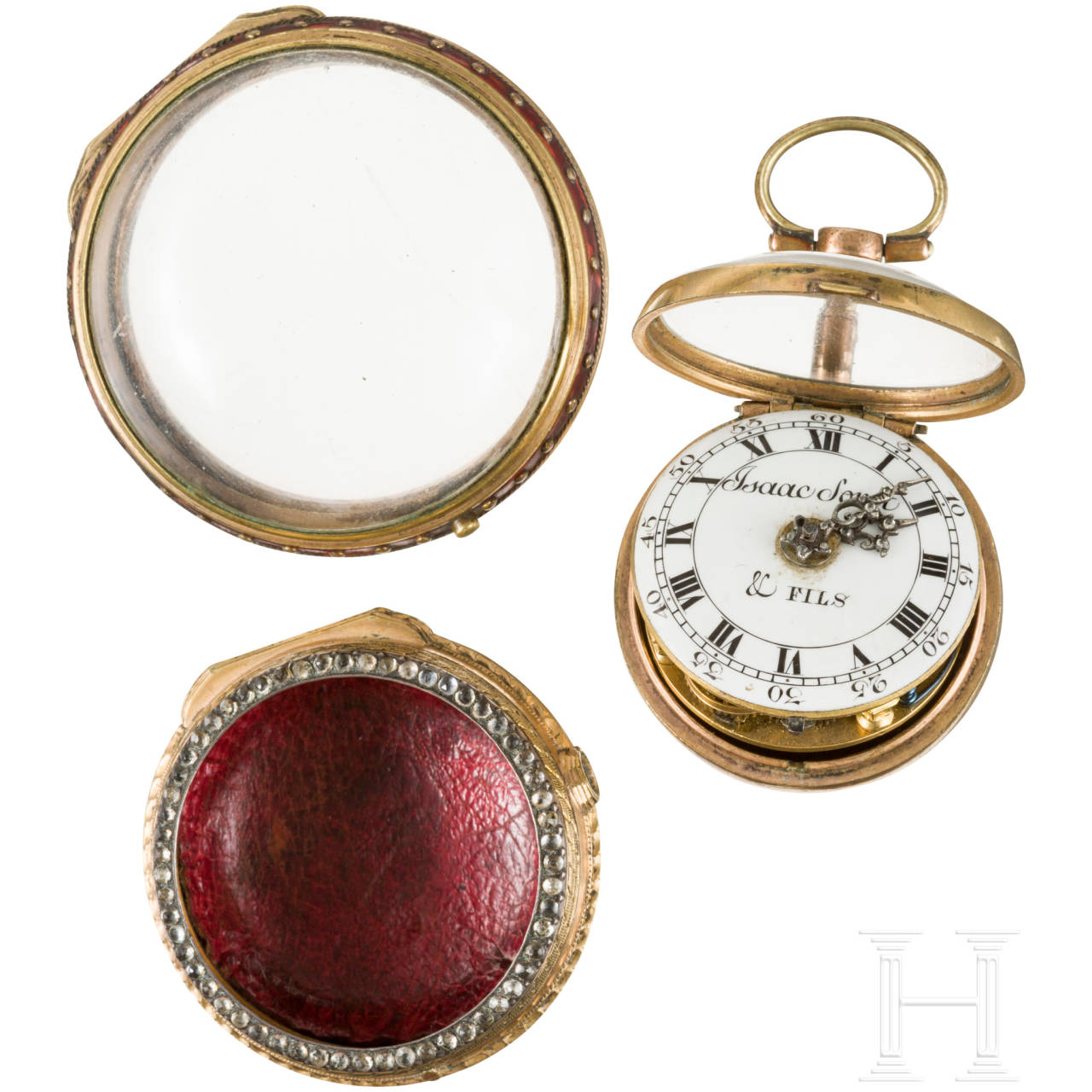 A diamond studded, enamelled verge watch with inner and outer case, Isaac Soret & Fils, Geneva, circa 1750