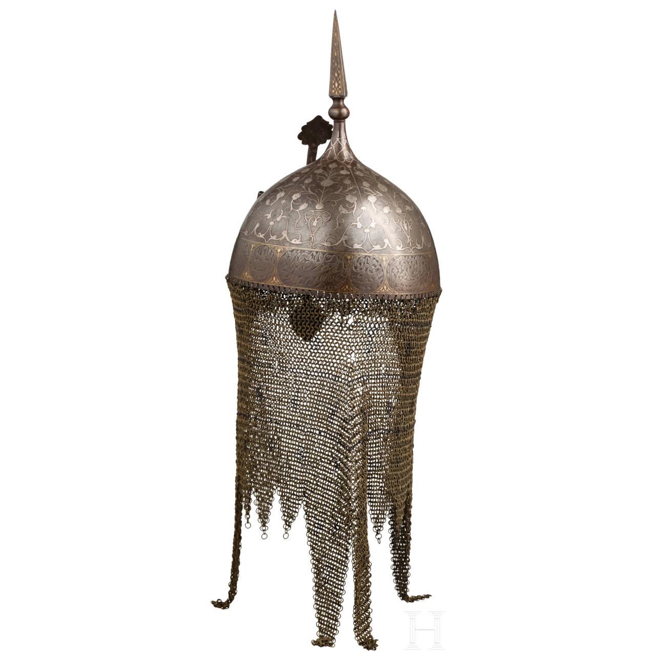 Silbereingelegter Helm , Persien, 19. Jhdt.