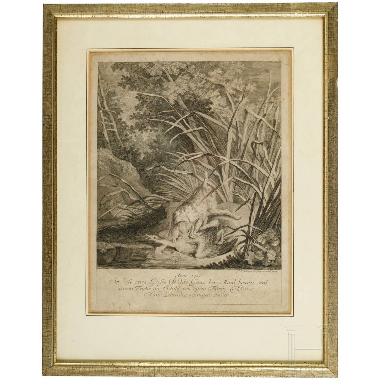 Jagdlicher Kupferstich, Johann Elias Ridinger (1698 - 1767), datiert 1745