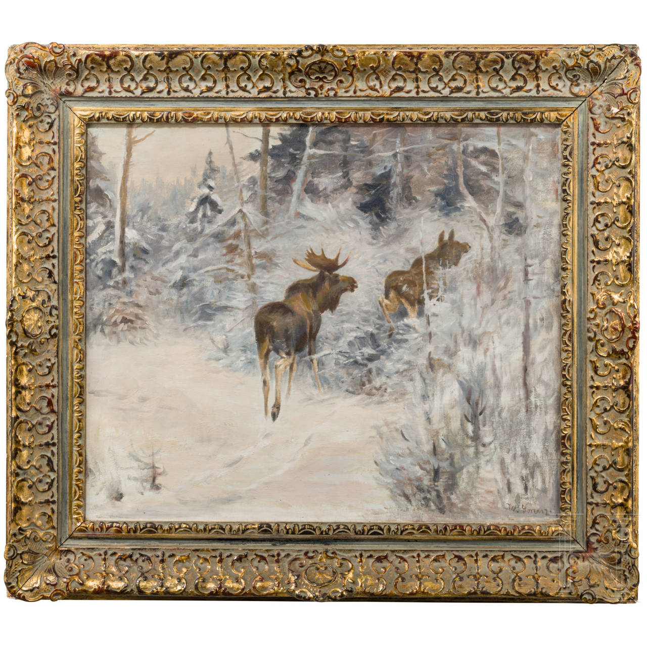 """Willi Lorenz (1901-81) - """"Elch-Paar im Schnee"""""""