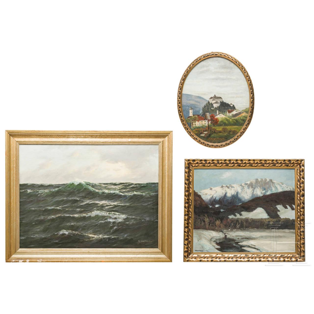 """Drei Ölbilder: """"Berglandschaft"""", """"Festung Kufstein"""" und """"Meereswogen"""""""