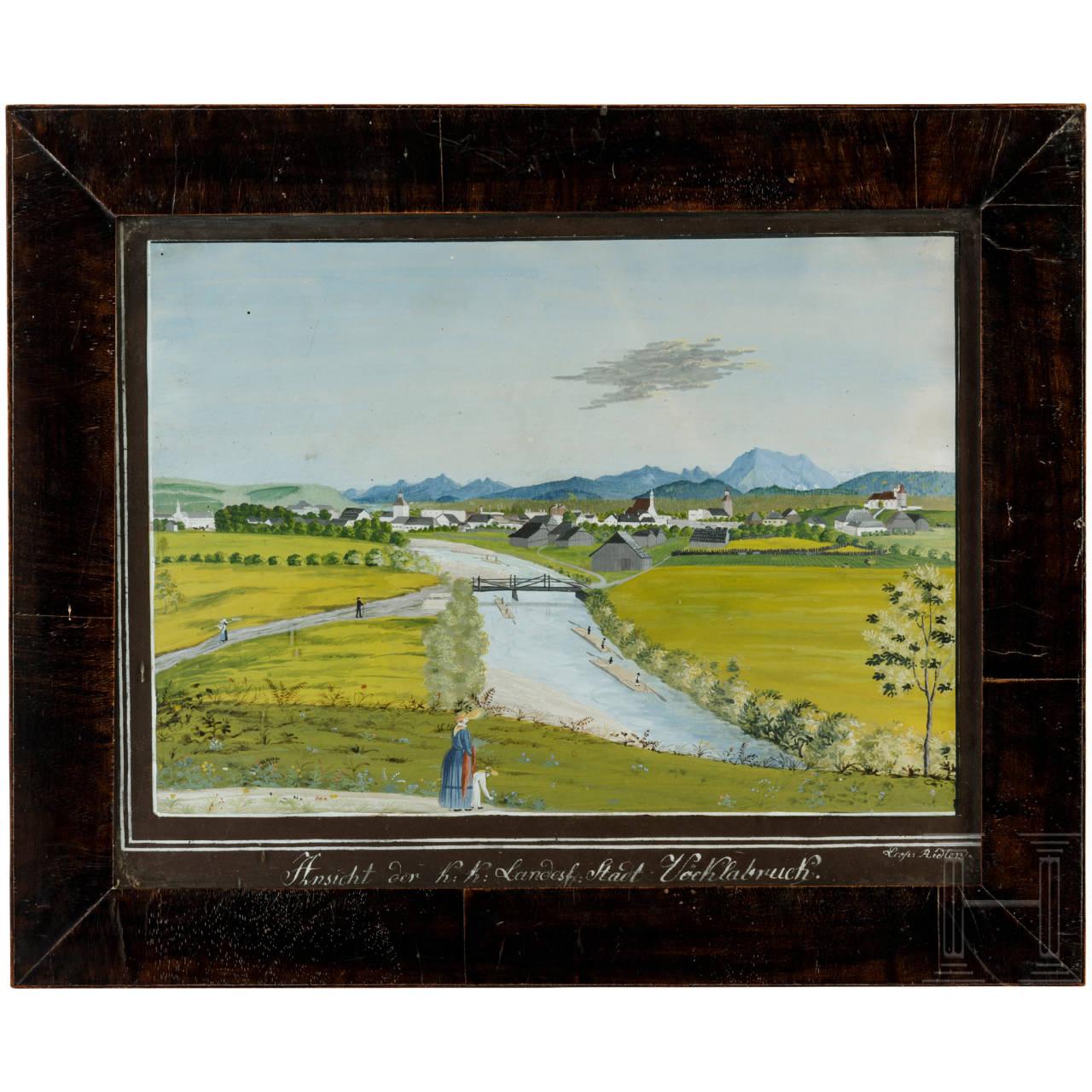 Ansicht der Stadt Vöcklabruck (Oberösterreich), Gouache, um 1830