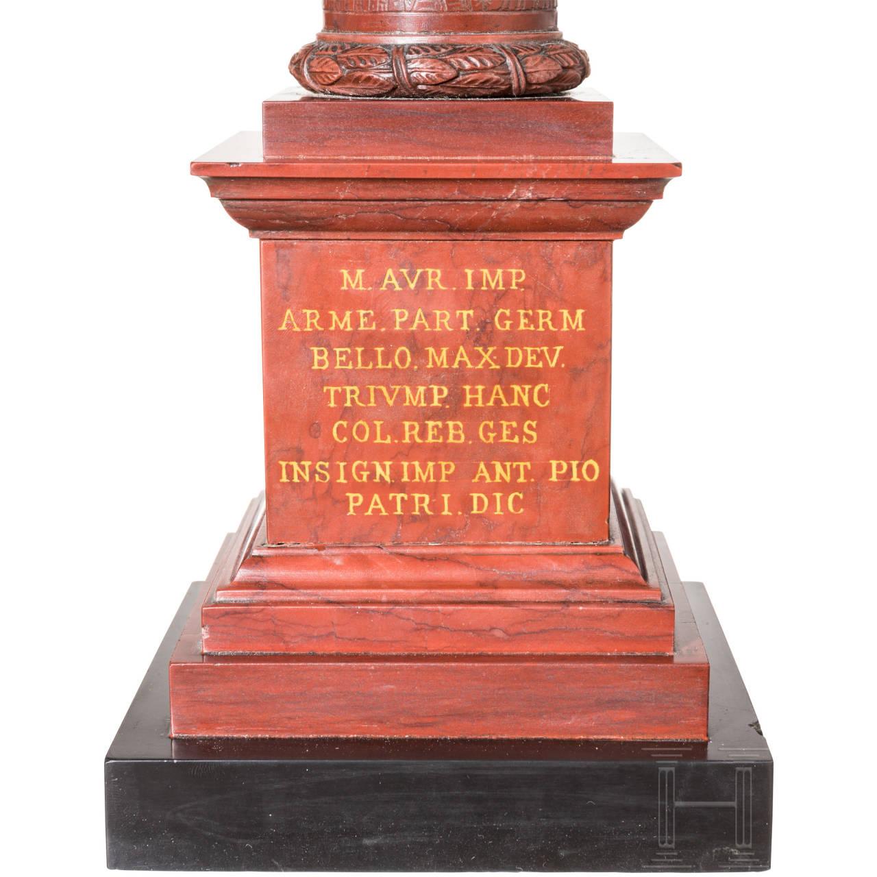 Idealtypische Miniatur der Mark-Aurel-Säule in Rom, Italien, fortgeschrittene 1. Hälfte 19. Jhdt.