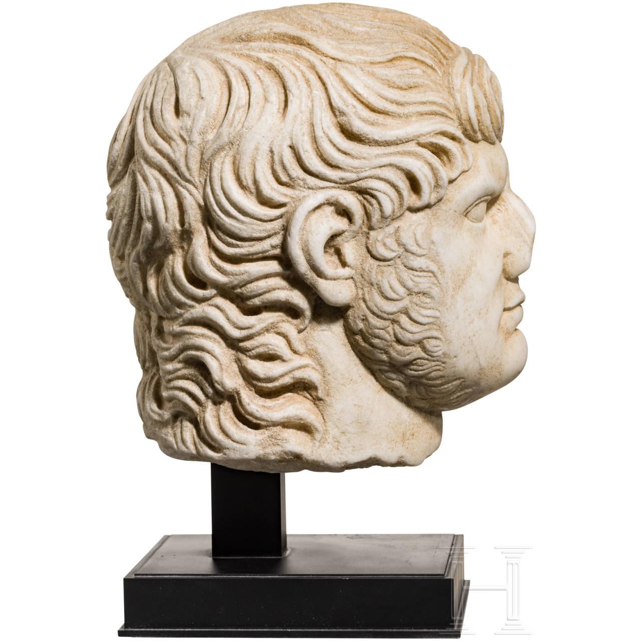 Grand Tour-Skulptur des Kopfes von Nero, Italien, 19. Jhdt., Marmor