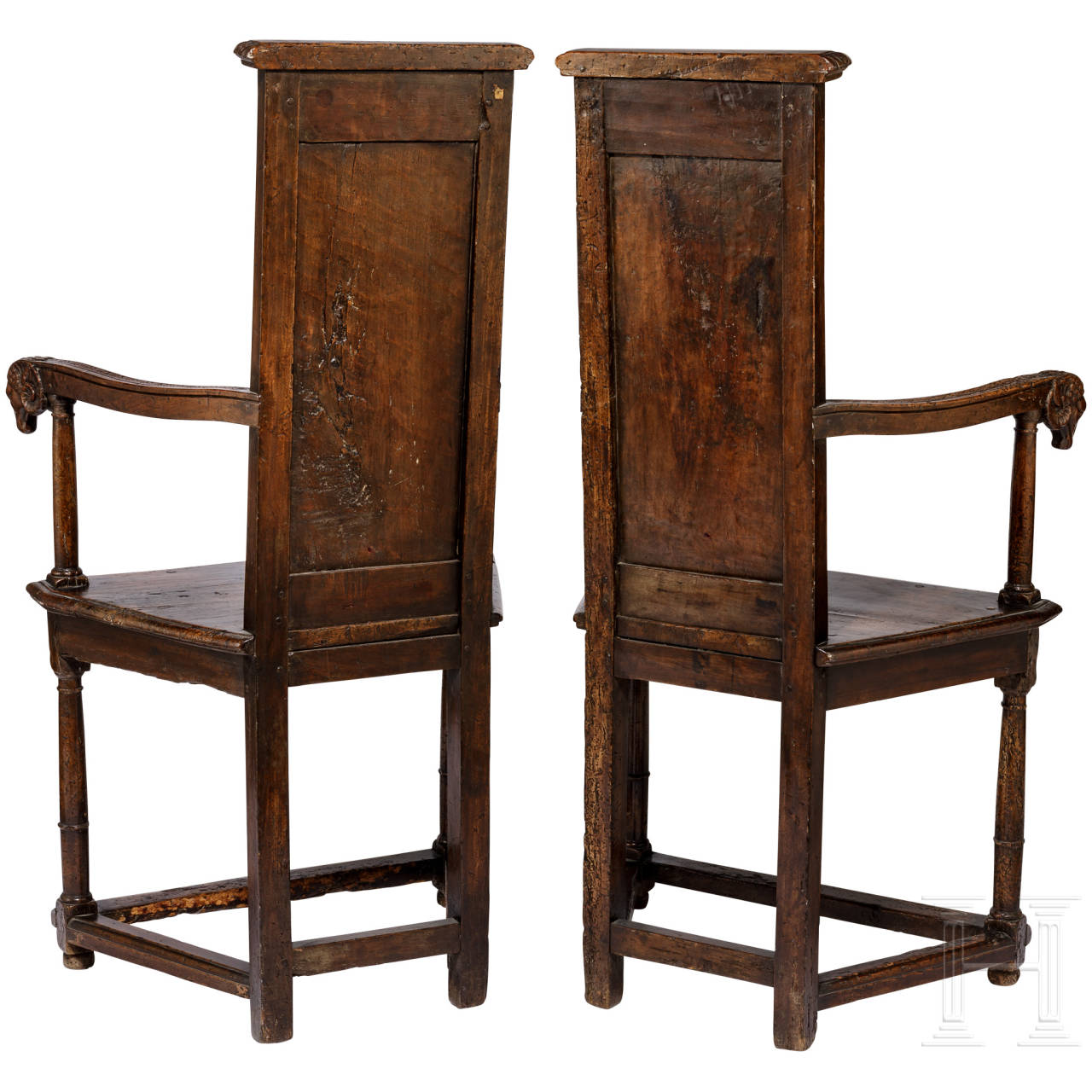 A rare pair of Renaissance armchairs, known as caquetoire chairs, Loire region/France, 2nd half of the 16th century