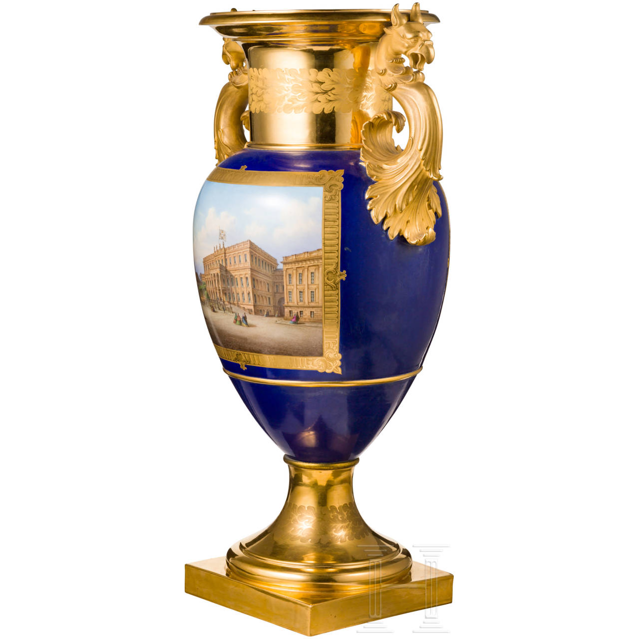 A striking deluxe handle vase, KPM, Berlin, circa 1860