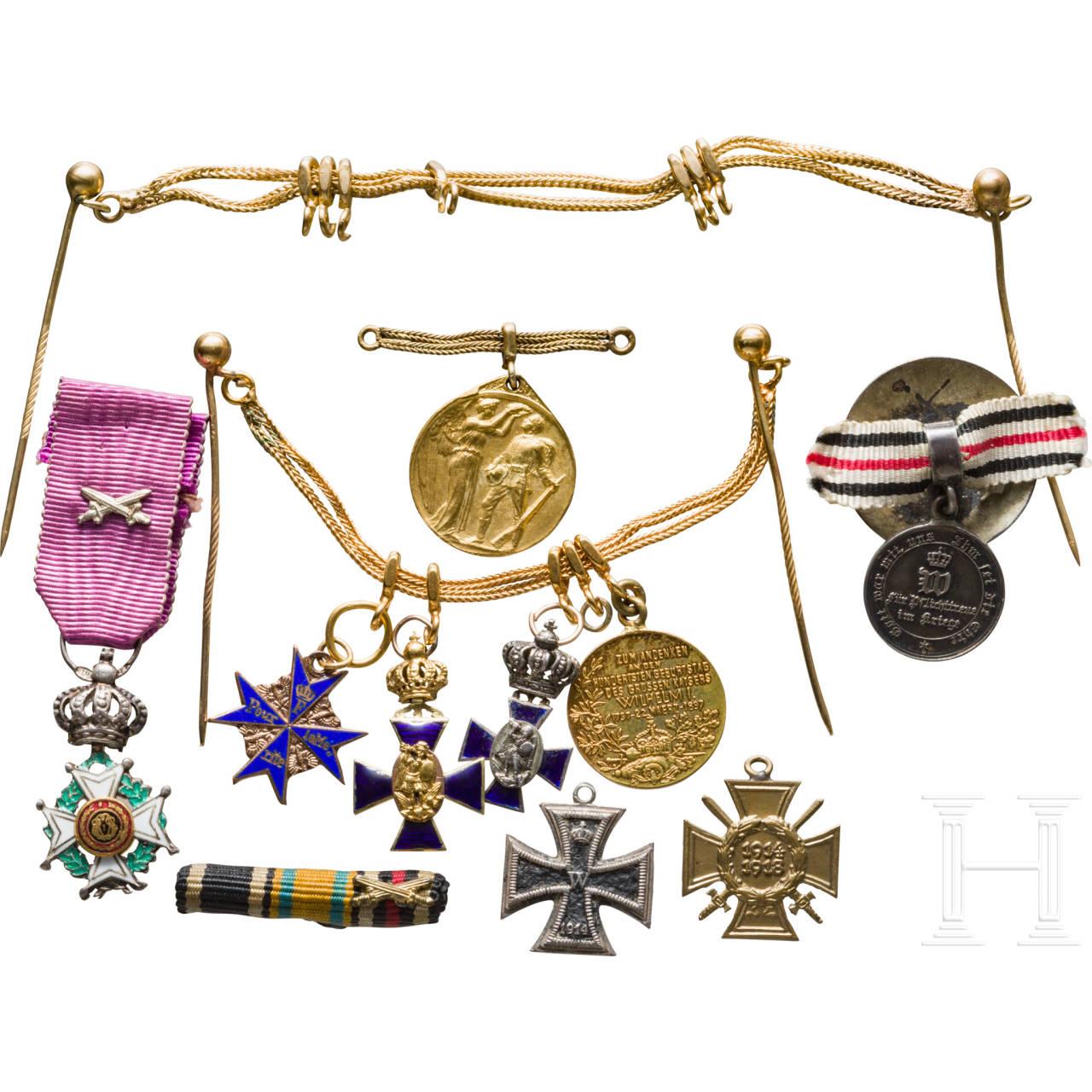 Group of order miniatures: Prussia Pour le Mérite, Bavaria Saint Michael