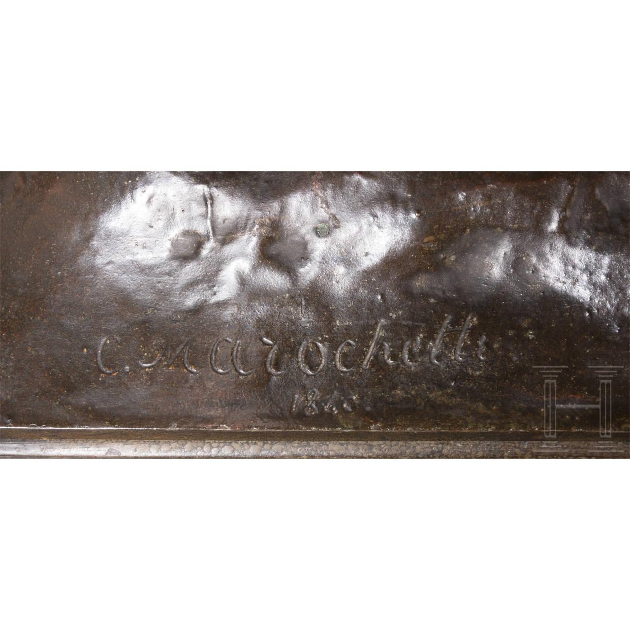 Reiterstandbild von Napoleon Bonaparte in Uniform, signiert C. Marochetti, Paris, 19. Jhdt.