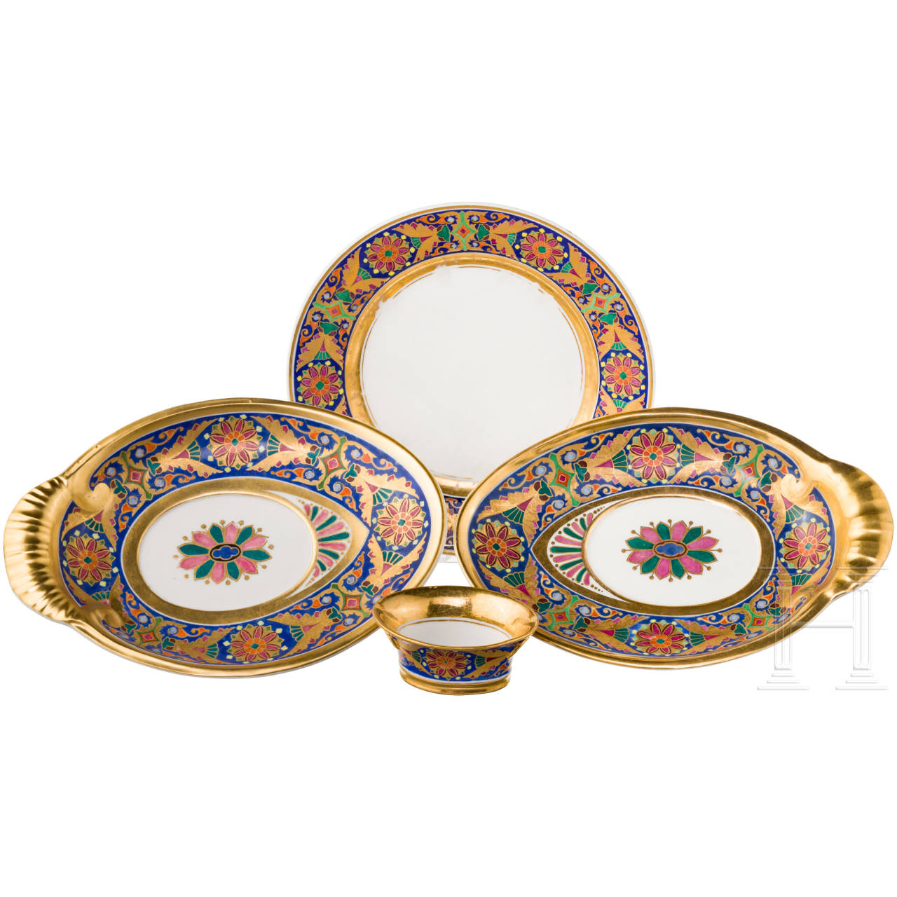 A Russian plate, two oval bowls and a spice container from the Gothic service, Imperial Porcelain Manufactory St. Petersburg, reign of Tsar Nicholas I, ca. 1833/40