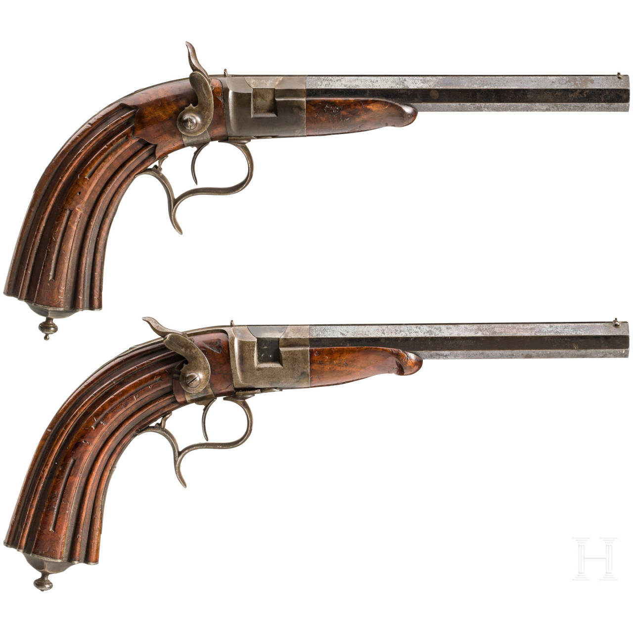 A pair of percussion pistols for indoor shooting, South German, ca. 1850