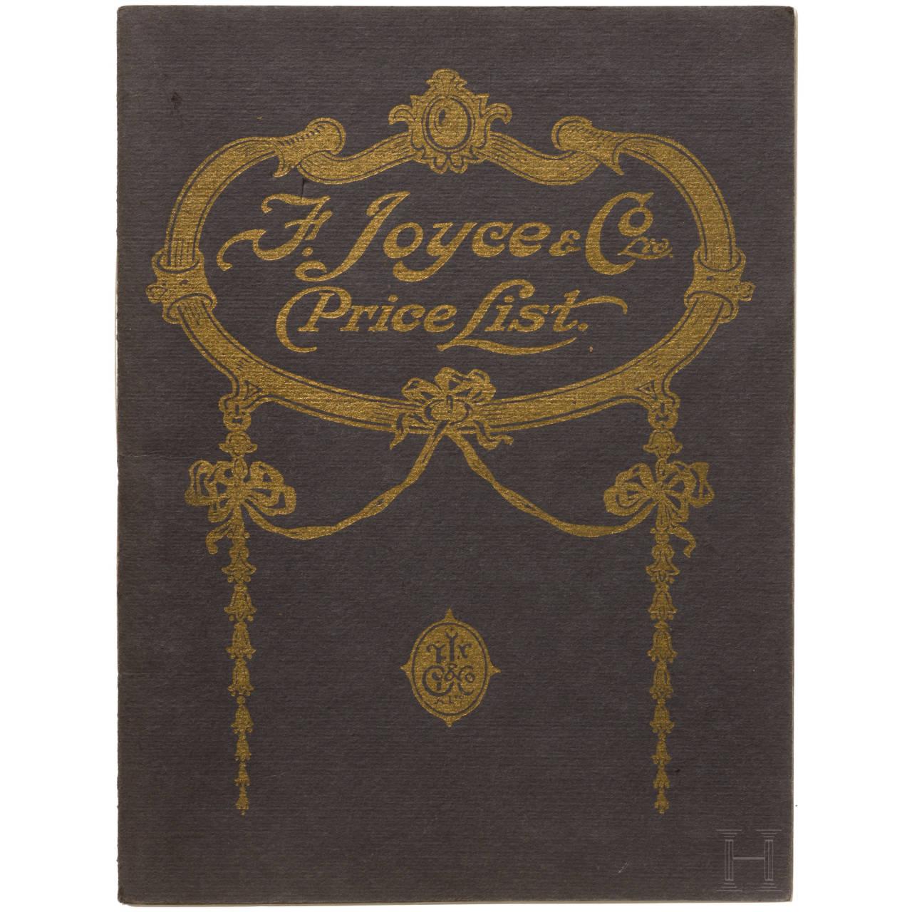 "F. Joyce & Co., London ""Amunition Price List"", 1909/10"