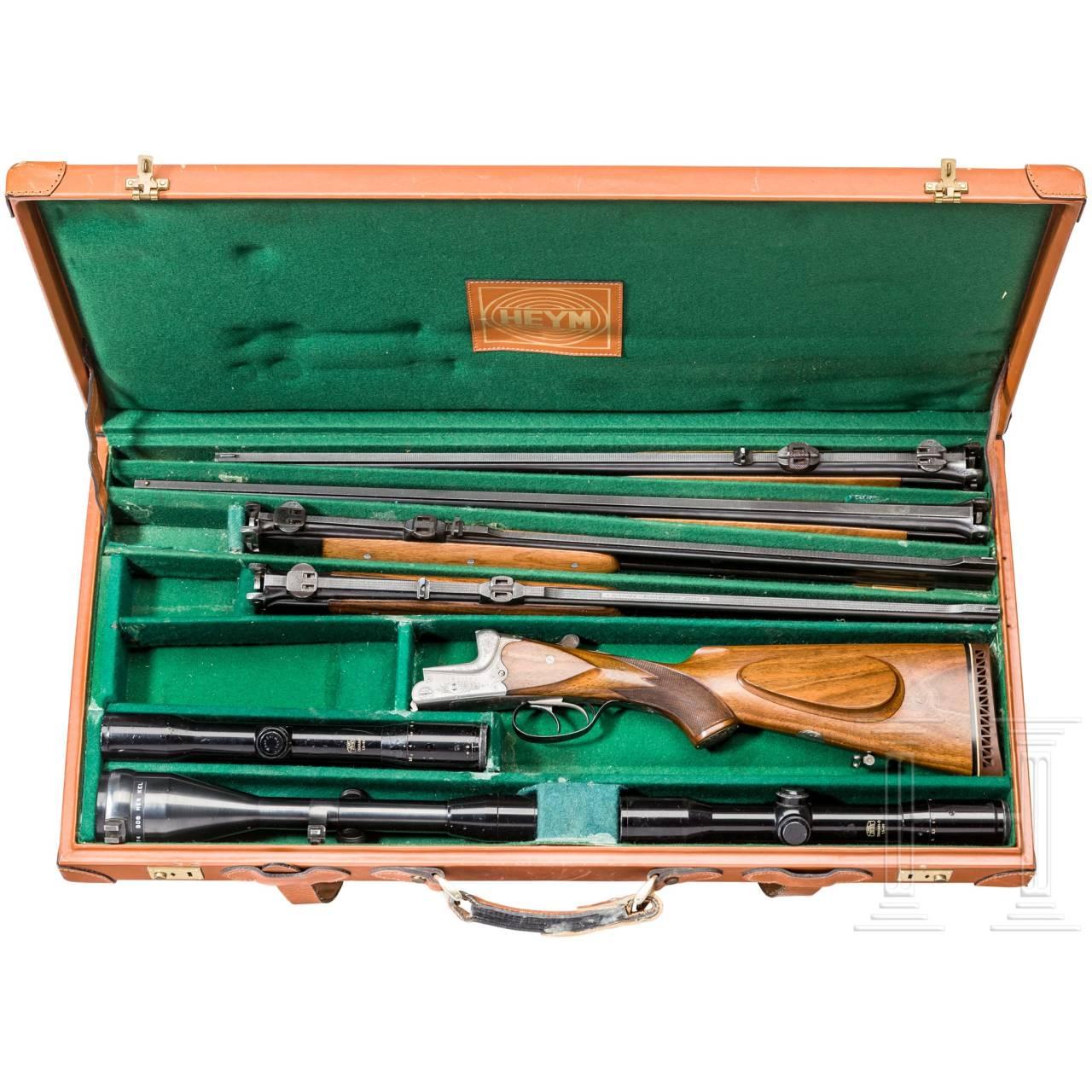 Bockdoppelbüchse Hambrusch, mit drei Wechselläufen, im Koffer