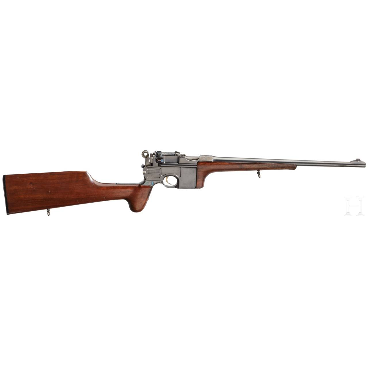 """An original long-barrelled Mauser C 96 """"Large Ring Hammer"""" semi-automatic hunting carbine"""
