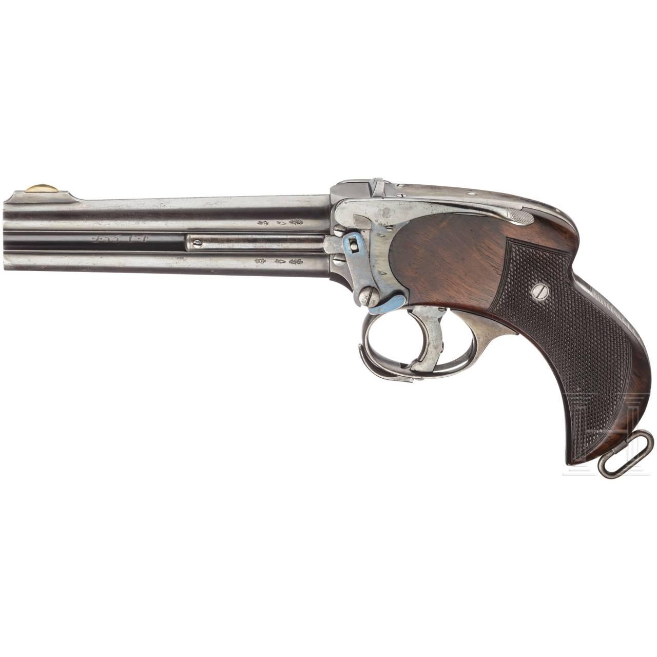 Zweiläufige Pistole Lancaster (Howdah), um 1896