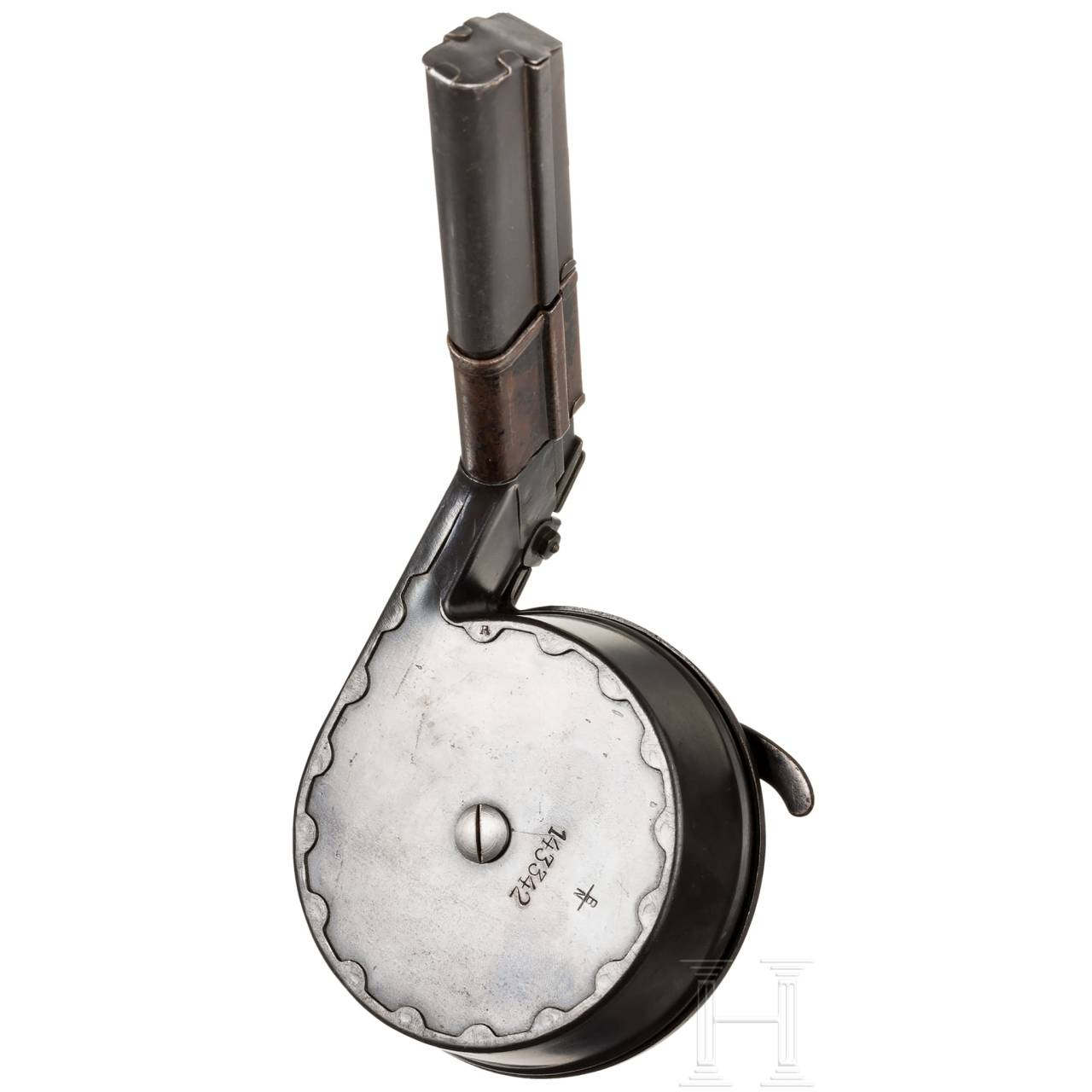 A snail drum magazine (T.M. 08 new version), with MP loader and dust cover, Gebr. Bing