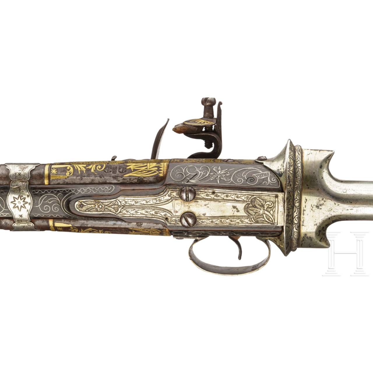 An Ottoman khanjar over-and-under flintlock pistol, 19th century