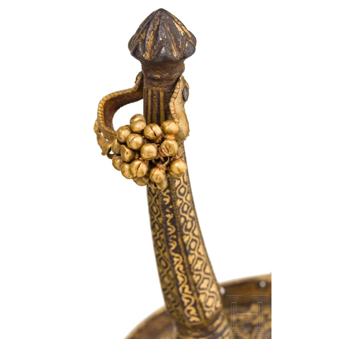 A significant, North Indian khanda with solid gold mounting, circa 1800
