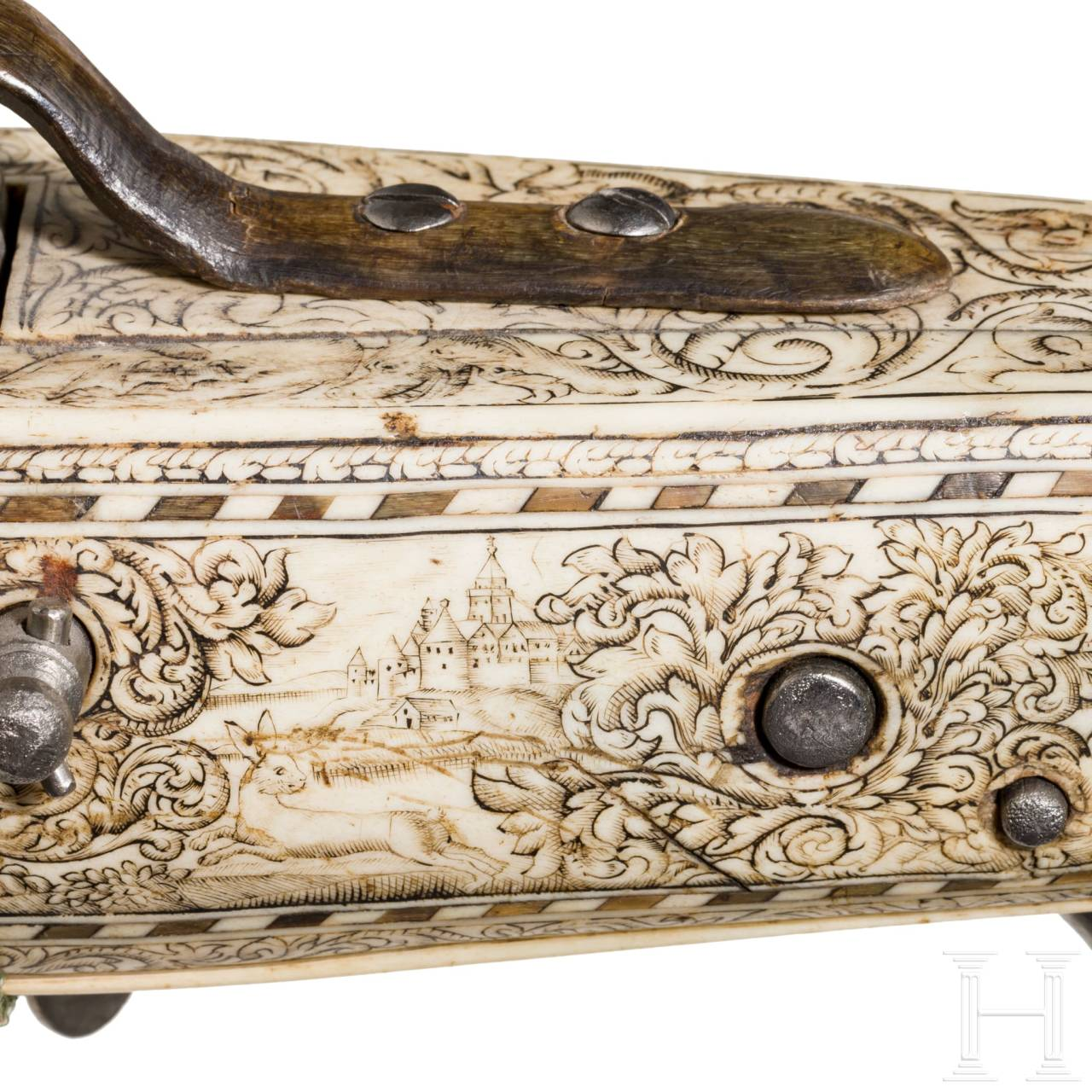A crossbow with lavish bone inlays by Johann Bensheimer the Elder, Dresden, late 17th century