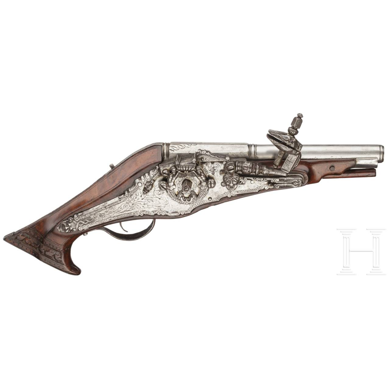 A rare North French wheellock pistol with an elaborately chased lock, circa 1570