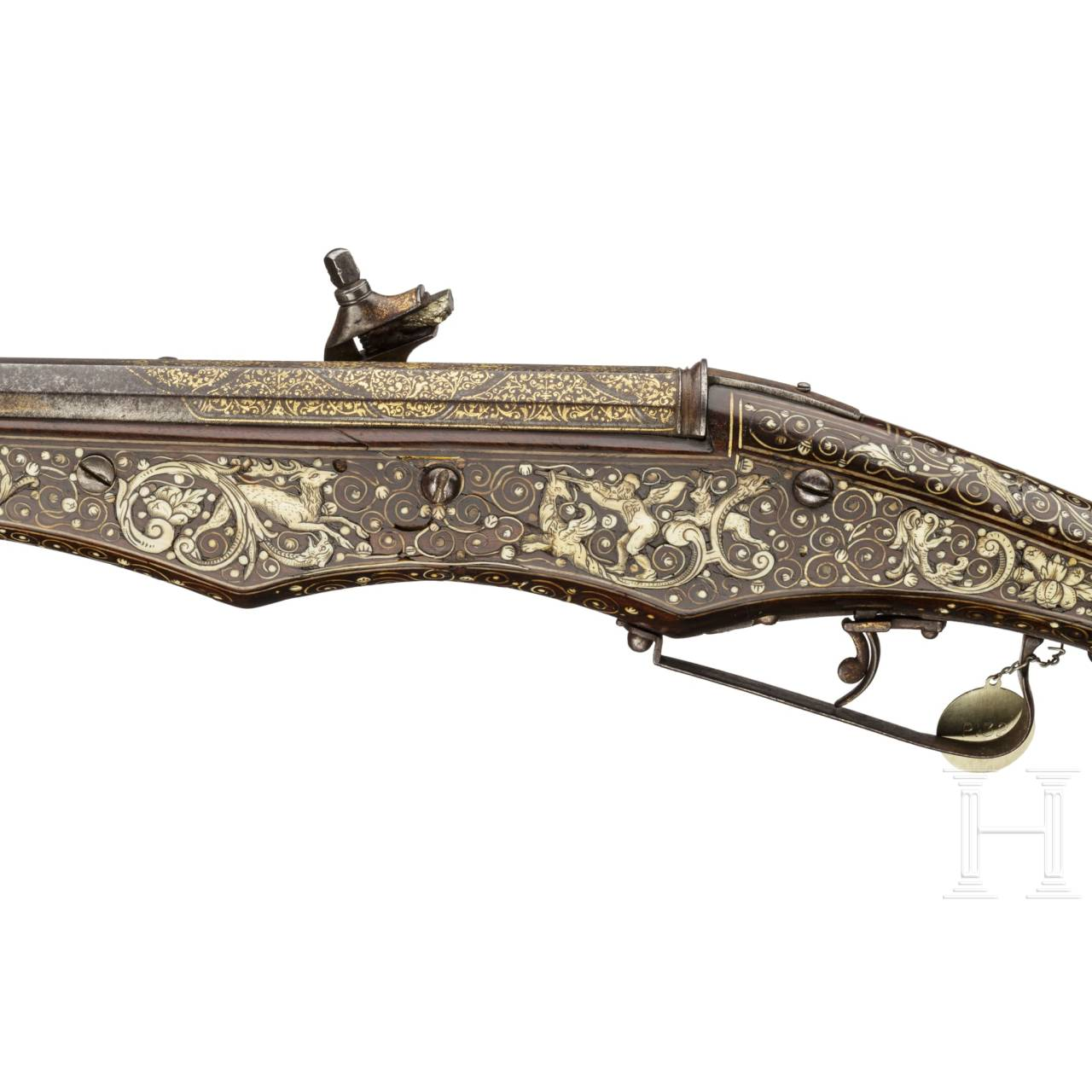 A rare, South German wheellock pistol for two superimposed loads, with inlays in gold and bone, circa 1600