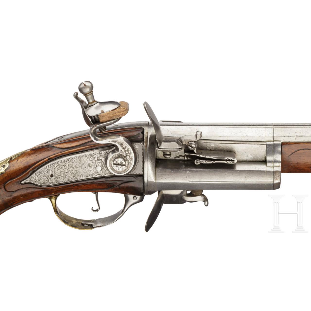 Dreischüssiger Steinschloss-Revolver, deutsch/flämisch, um 1730