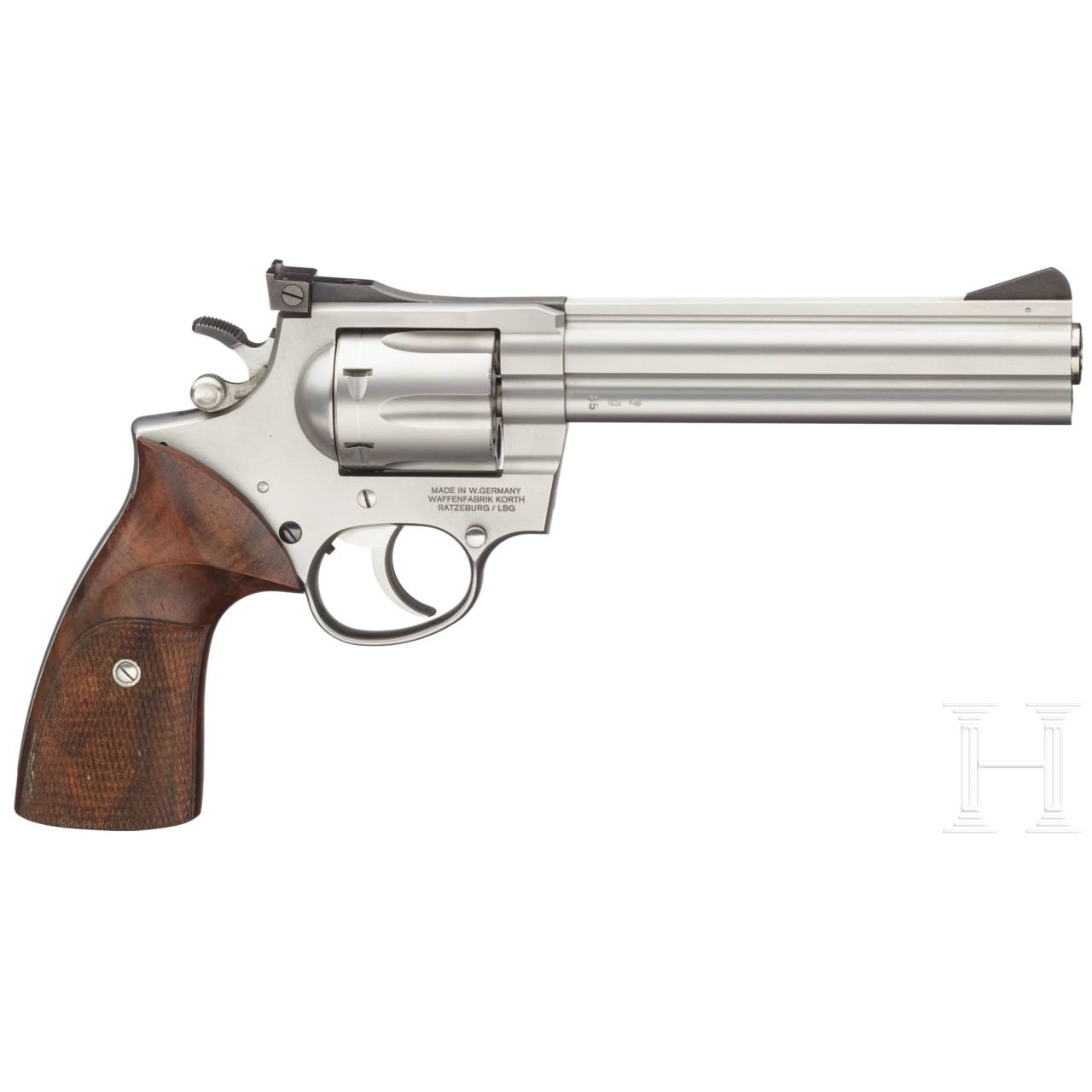 A stainless Korth revolver