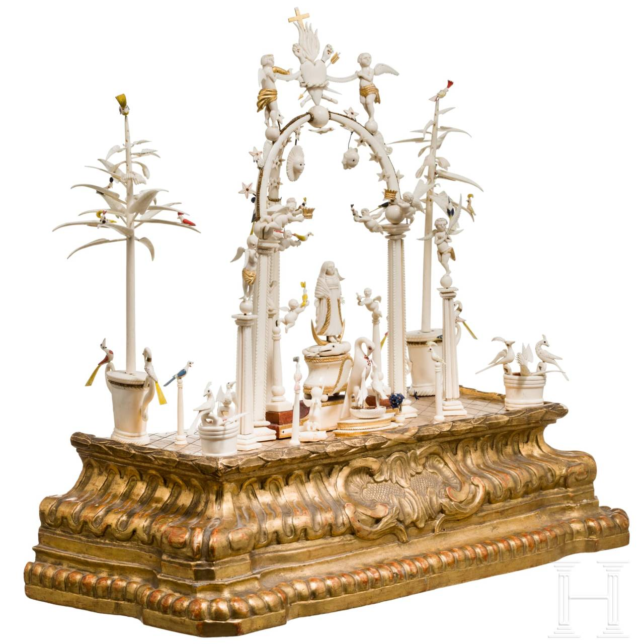 A Portuguese Colonial family altar in ivory, circa 1720