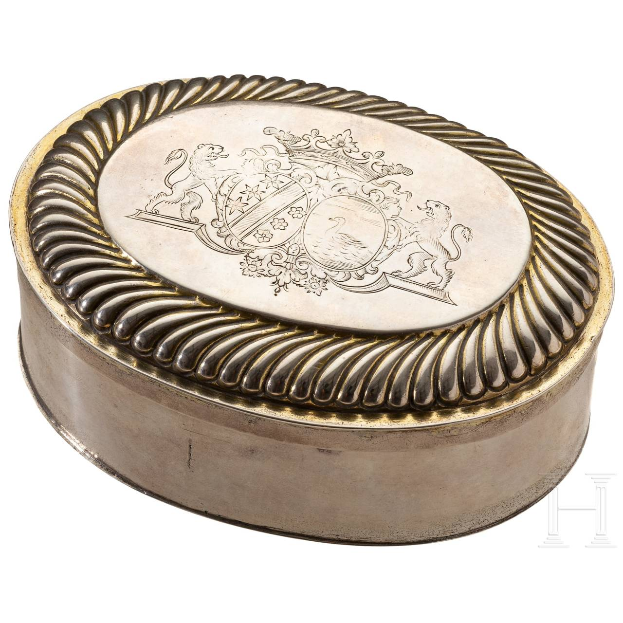 A silver box from a toiletry set, Augsburg, Michael Hafner, 1695-1700