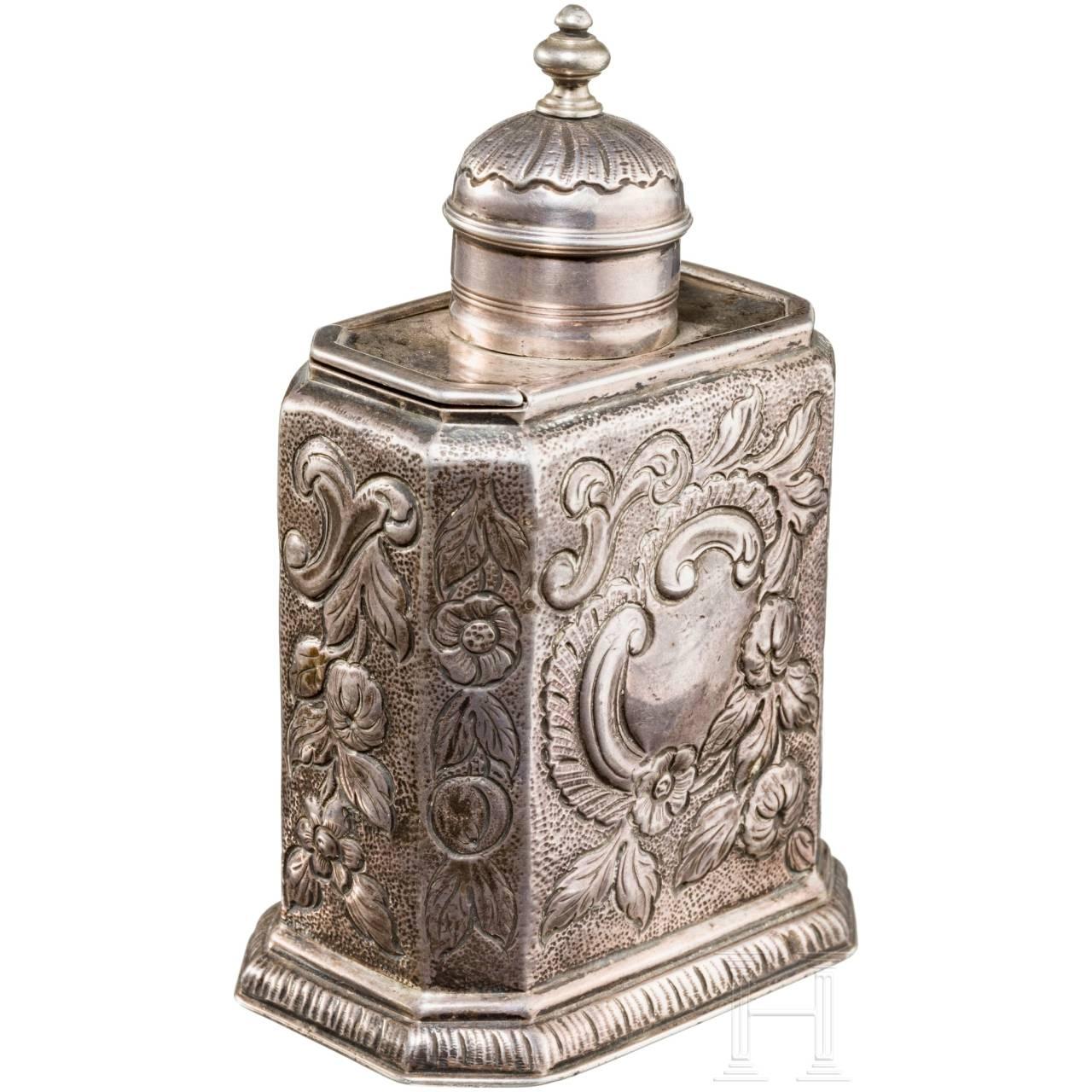 A silver tea caddy, London, 18th century