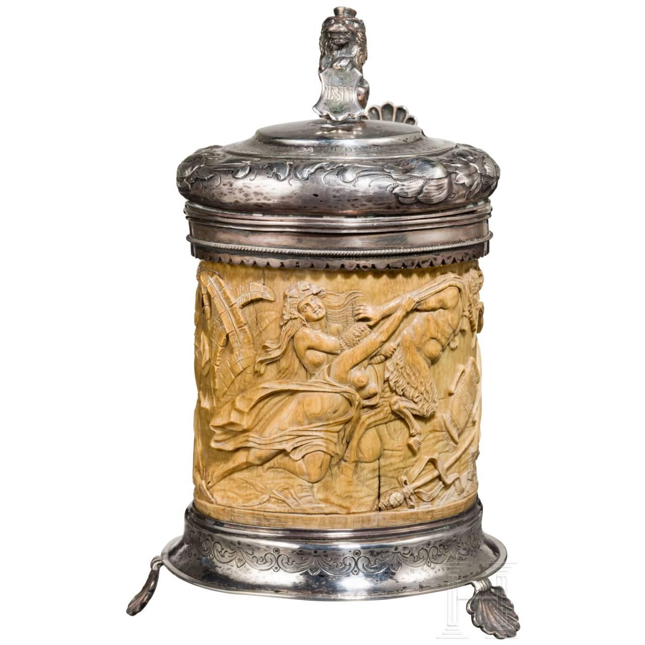 A Danish silver-mounted ivory tankard, 18th/19th century